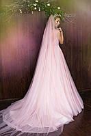 Фата нежно розовая длинная, фото 1