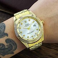 Металлические часы Rolex Date Just Gold, женские золотые часы ролекс, жіночий золотий годинник