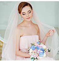 свадебная фата пудровая длинная