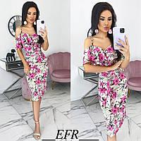 Женское летнее платье с 42 по 48 рр софт с принтом