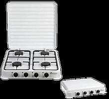 Газовая плита настольная таганок Domotec MS-6604 на 4 конфорки (Белая с крышкой)