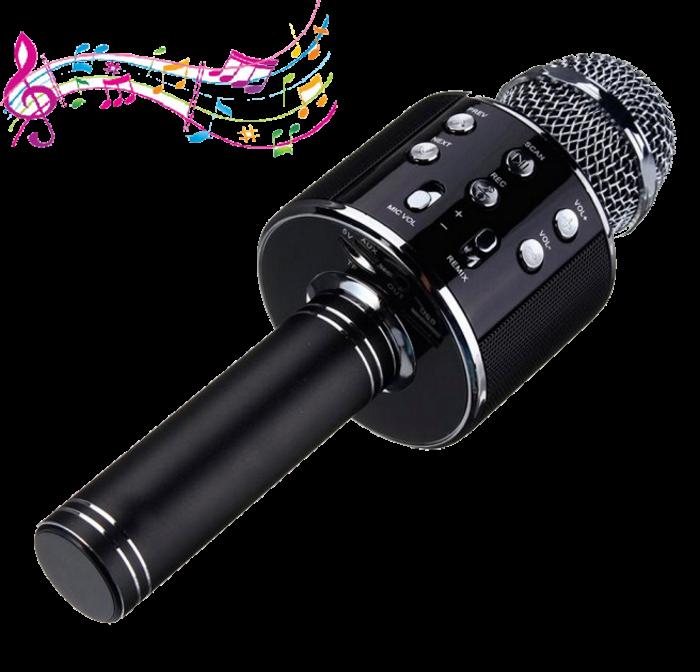 Микрофон караоке Wester WS-858 - беспроводной Bluetooth микрофон для караоке с плеером Черный