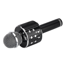 Микрофон караоке Wester WS-858 - беспроводной Bluetooth микрофон для караоке с плеером Черный, фото 3