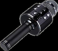 Микрофон караоке Wester WS-858 - беспроводной Bluetooth микрофон для караоке с плеером Черный, фото 2