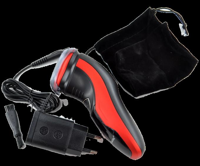 Електробритва Domotec MS-7731 - бездротова бритва з тримером Червона