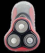 Електробритва Domotec MS-7731 - бездротова бритва з тримером Червона, фото 2