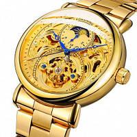 Часы наручные мужские женские скелетоны механические Forsining 8177 All Gold 1059-0011