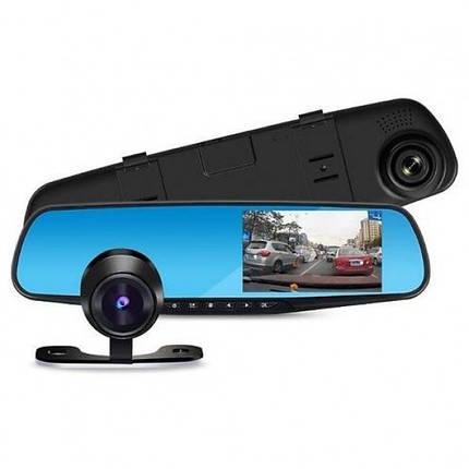 Автомобильный видеорегистратор DVR L9000 FullHD 1080p - видеорегистратор зеркало с двумя камерами, фото 2