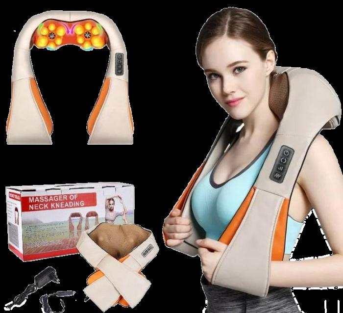 Массажер роликовый Massager of Neck Kneading с подогревом - электрический массажер для спины, шеи, плеч