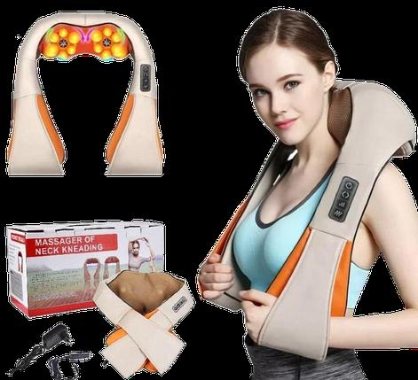 Массажер роликовый Massager of Neck Kneading с подогревом - электрический массажер для спины, шеи, плеч, фото 2
