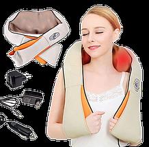 Массажер роликовый Massager of Neck Kneading с подогревом - электрический массажер для спины, шеи, плеч, фото 3