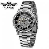 Годинники наручні чоловічі жіночі скелетоны механічні Winner 8012 Diamonds Automatic Silver-Black 1099-0029