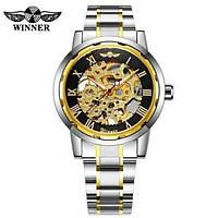 Часы наручные мужские женские скелетоны механические Winner Automatic Silver-Black-Gold 1099-0026