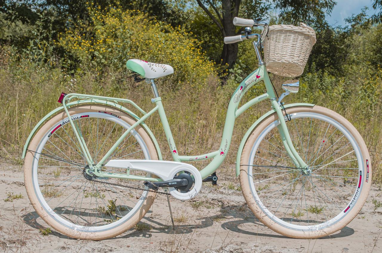 Велосипед женский городской VANESSA 28 Mint с корзиной Польша