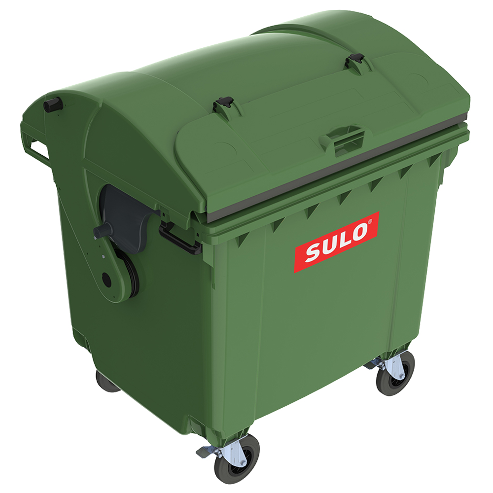 Контейнер сміттєвий ТПВ Sulo 1100 л з куполоподібної кришкою (модель кришка в кришці) зелений