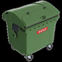 Контейнер мусорный ТБО Sulo 1100 л с куполообразной крышкой (модель крышка в крышке) зеленый, фото 1