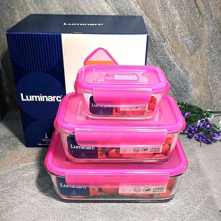 Набор прямоугольных пищевых контейнеров Luminarc Pure Box Active Neon 3 шт (N0332)
