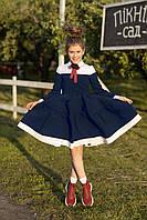 Школьное платье с белой манишкой для отличницы адель 122-128 см Tiny look