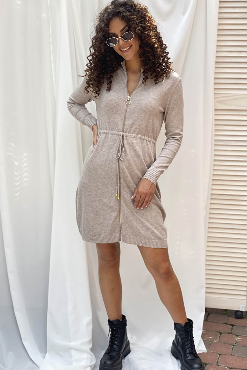Стильное платье с молнией и длинным рукавом ebelieve - бежевый цвет, XL/XXL (есть размеры)