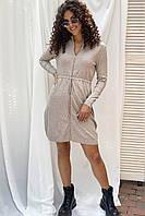 Стильное платье с молнией и длинным рукавом ebelieve - бежевый цвет, XL/XXL (есть размеры), фото 1