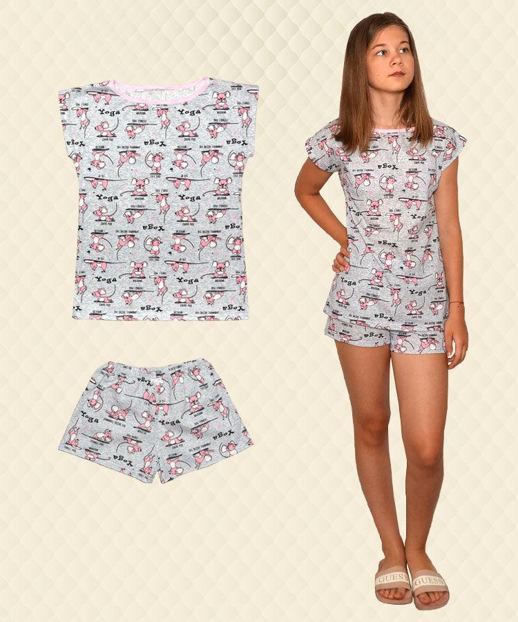 Піжама для дівчинки Мишки Йога футболка + шорти кулір