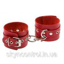 Наручники Leather Double Fix Leg Cuffs, Red