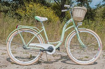 Велосипед жіночий міський VANESSA Vintage 28 Mint з кошиком Польща