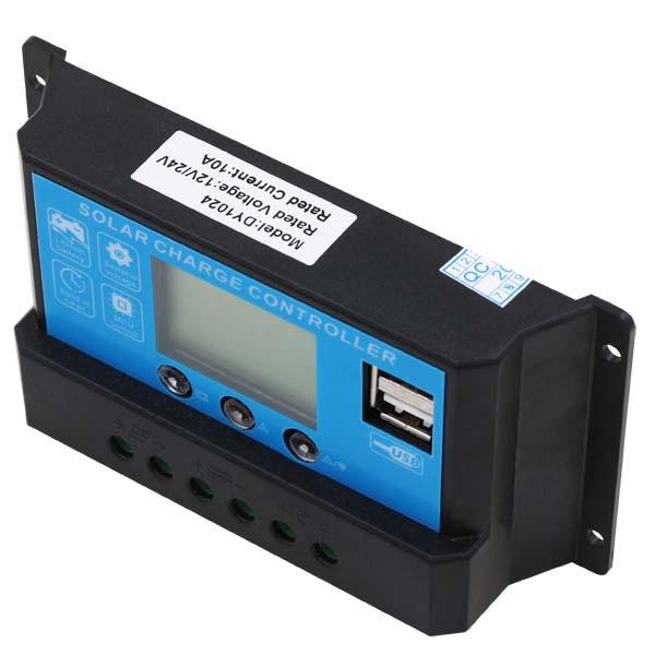 Контроллер 10А 12В/24В с дисплеем + USB гнездо (Модель-DY1024), JUTA