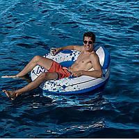 Надувное кресло-круг для плавания Bestway голубое, 119 см, с держателями для рук