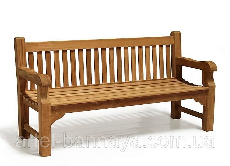 Лавочка скамья со спинкой 1640 х 690 мм. Деревянная лавка в Украине от производителя Garden park bench 06 Вишнёвое