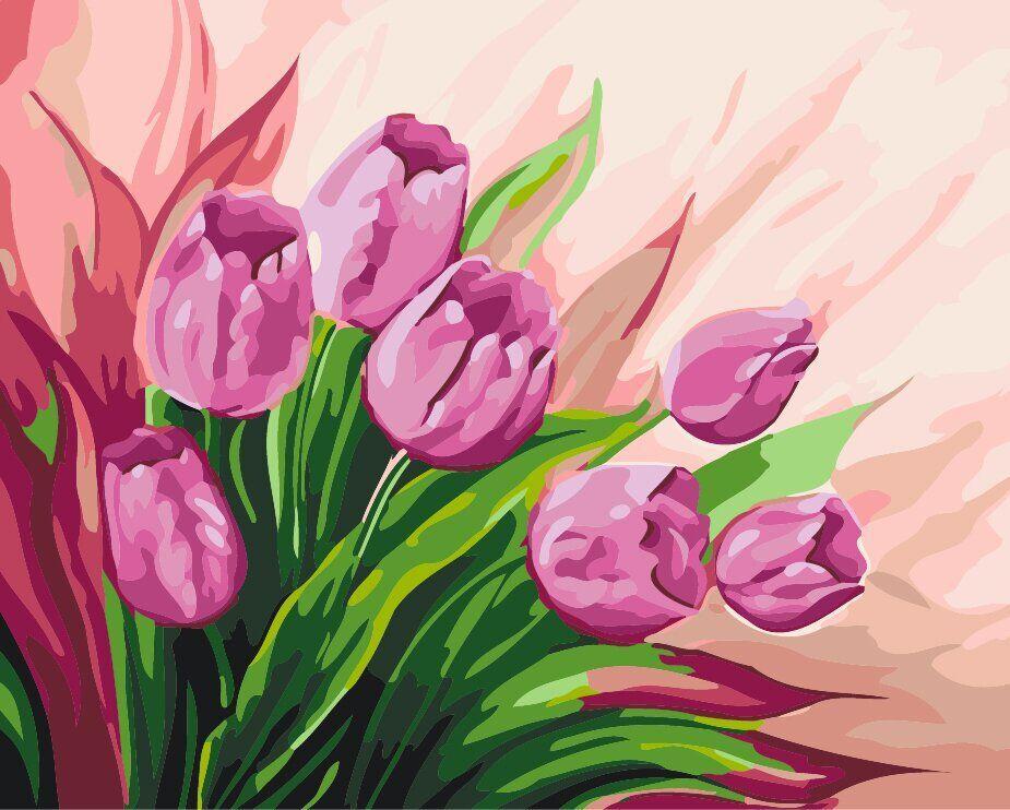 КНО2924 Раскраска по номерам Персидские тюльпаны, Без коробки
