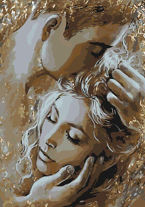 KH4563 Раскраска по номерам Золотые объятия, Без коробки