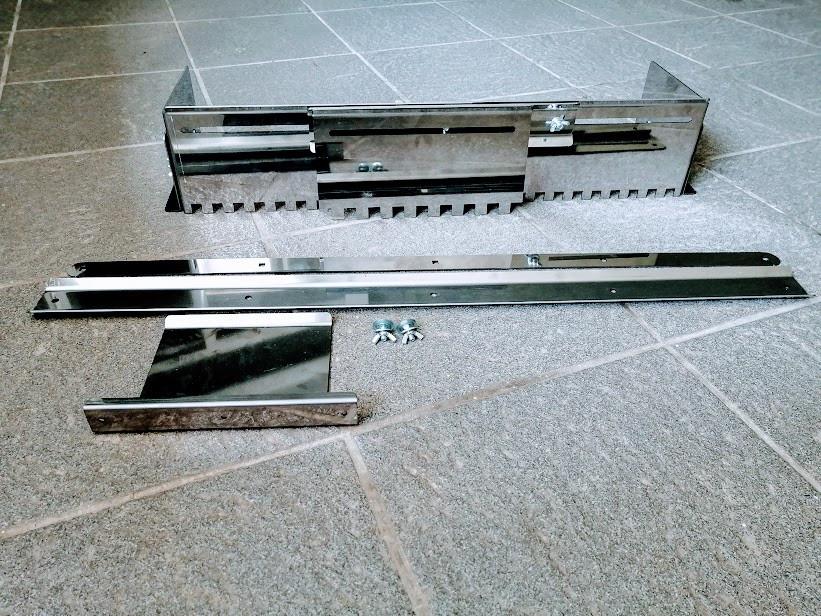 Гребёнка раздвижна универсальная для укладки плитки нержавеющая сталь (зуб 14x14мм)+доп вставка (зуб 14x14мм)