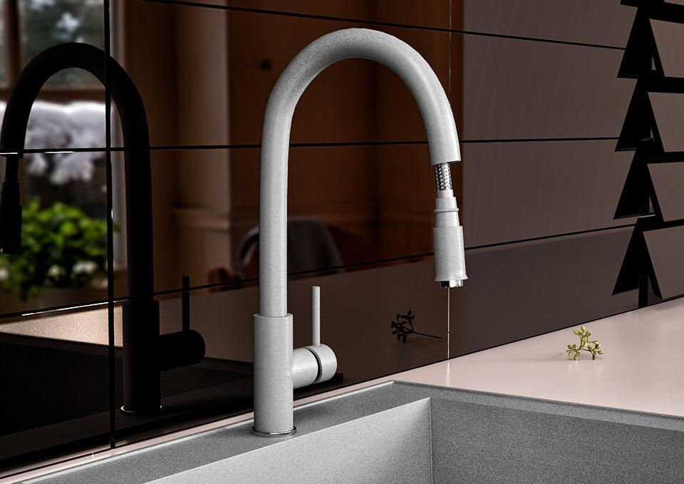 Змішувач кухонний з висувним виливом KAHER ULA ACTIVE 09 сірий