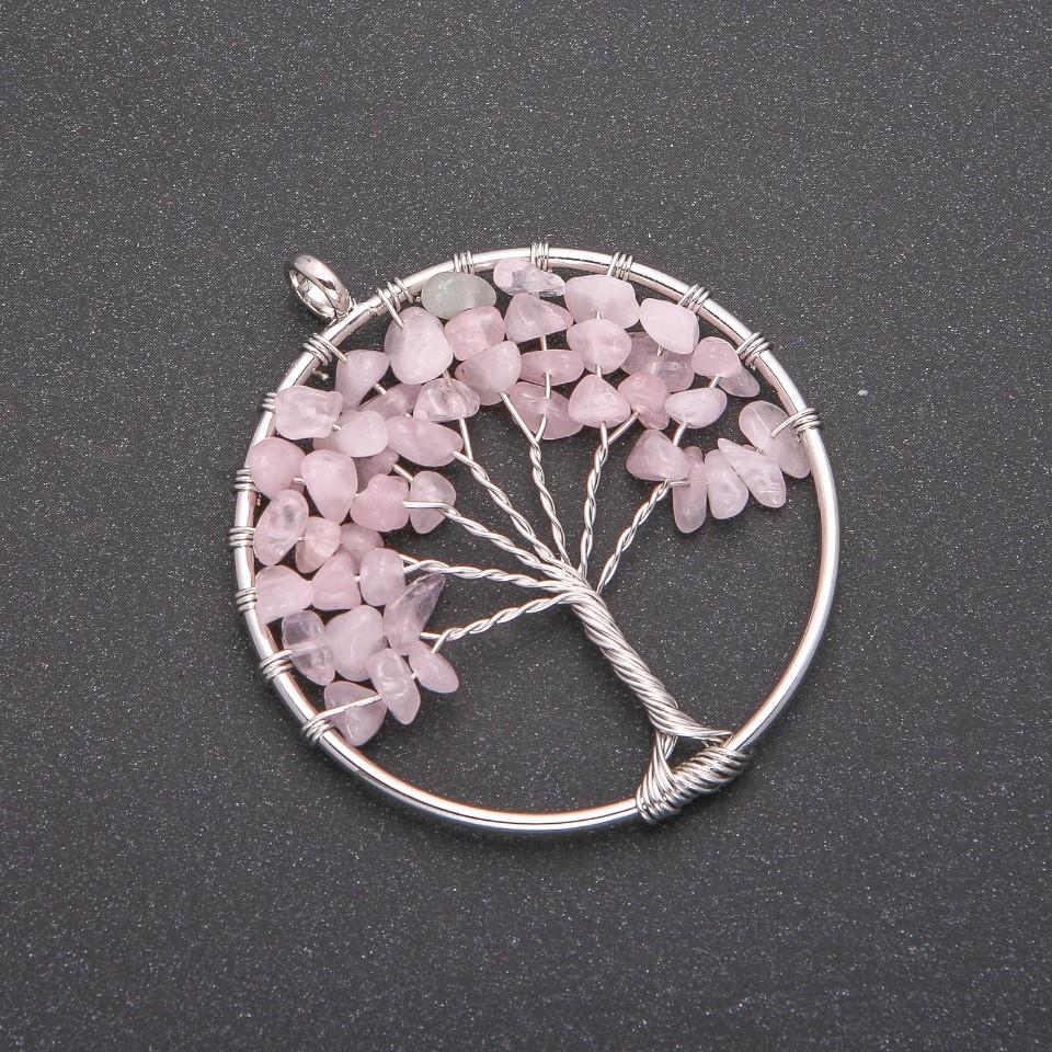 """Кулон """"Дерево счастья """" Розовый Кварц, диаметр 50мм"""