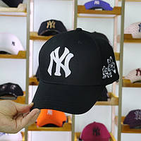 Кепка Бейсболка р.56-59 Хлопок New York Yankees NY MLB Нью-Йорк Янкиз Черная с Белыми цветами с боку js112