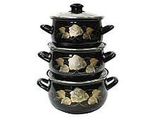 Набор эмалированной посуды Interos Золотая Роза 3 предмета(3040A)