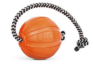 Мячик со шнуром для собак Liker Cord, 5 см, 30 cм