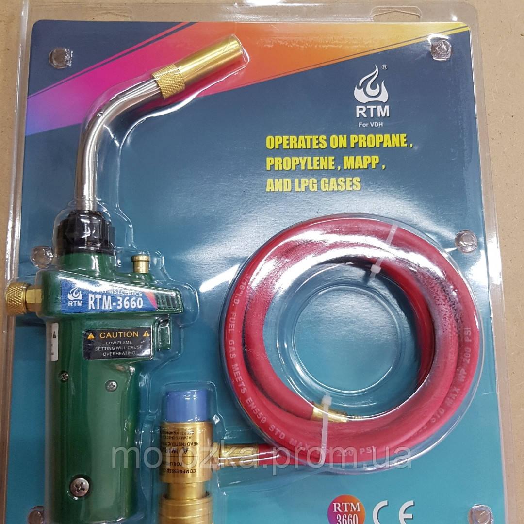 Горелка RTM 3660 для пайки (MAПП газ) C пьезоподжигом и шлангом 1.5м