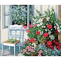 Наборы для вышивания крестом Luca S Пейзаж Терраса с цветами