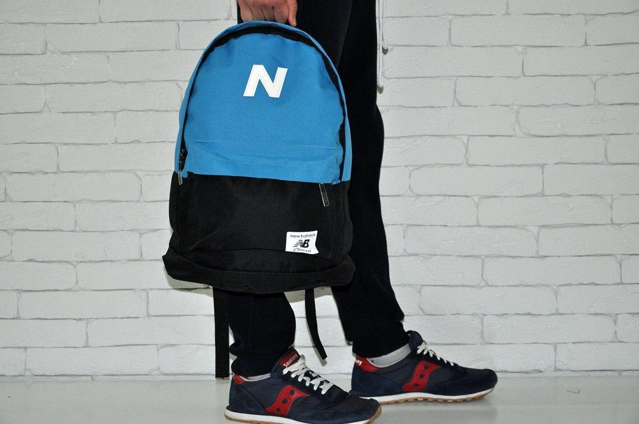Рюкзак New Balance черно-синий. Стильный городской рюкзак синий с черным.