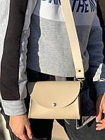 Сумка барсетка на пояс клатч женская модная с двумя ремнями из экокожи бежевая