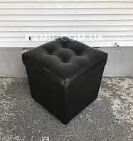 Пуфик открывающийся квадратный чёрный