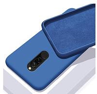 Чехол Silicone Case full Xiaomi Redmi 8 Blue синий (ксиоми редми 8)