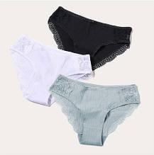 Хлопковые трусы женские XXL (52 размер) - 3шт. 95% cotton, 5% elastan