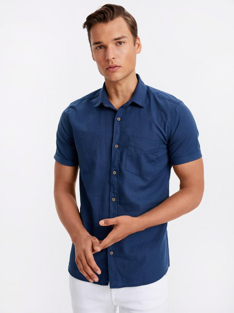 Синяя мужская рубашка LC Waikiki / ЛС Вайкики с карманом на груди, с пуговицами цвета слоновой кости
