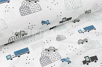 """Ткань хлопковая  """"Машины на холмах"""" серо-бирюзовые на белом фоне  №1721"""