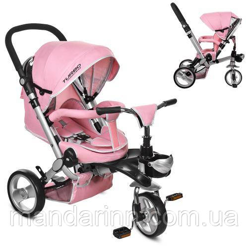 Детский Трехколесный велосипед-коляска с ручкой для родителей M AL3645-10 Нежно-розовый, колеса EVA