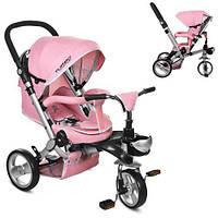 Детский Трехколесный велосипед-коляска с ручкой для родителей M AL3645-10 Нежно-розовый, колеса EVA, фото 1