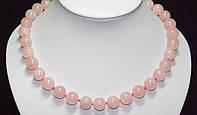Бусы из натурального камня, розовый кварц, 12 мм  5_28_112